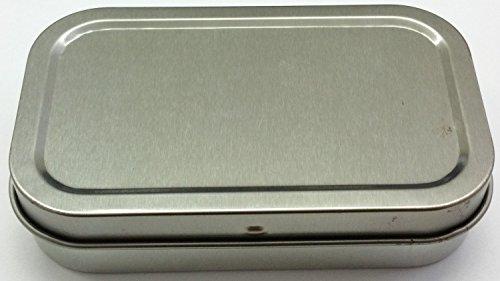 Trendz Blechdose für Tabak und andere Gegenstände, Deckel mit Scharnier, in verschiedenen Designs, ca. 28g silber