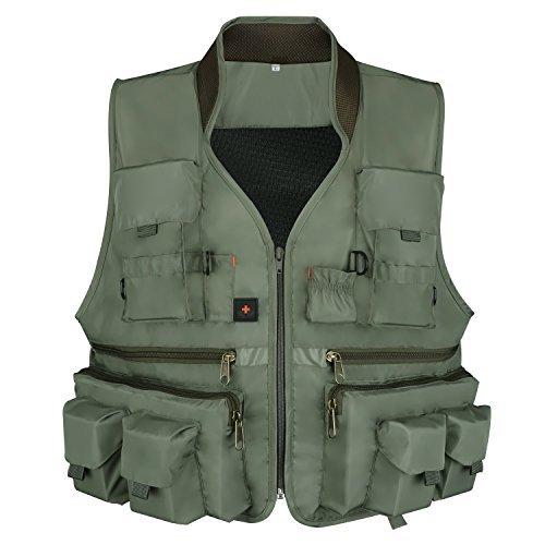 Anglerbasics Armee Grün Multifunktions Airsoft Tactical Weste Quick Dry Multi Taschen Mesh atmungsaktiv Active Militär tragen Jacket- passt für alle Outdoor Sport, Armeegrün -
