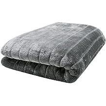 """ZOLLNER® Manta grande para sofá imitación piel de visón / manta cama piel sintética / cubrecamas, gris plateado, 150x200 cm, anverso imitación piel y reverso de forro polar, serie """"Kansas"""""""