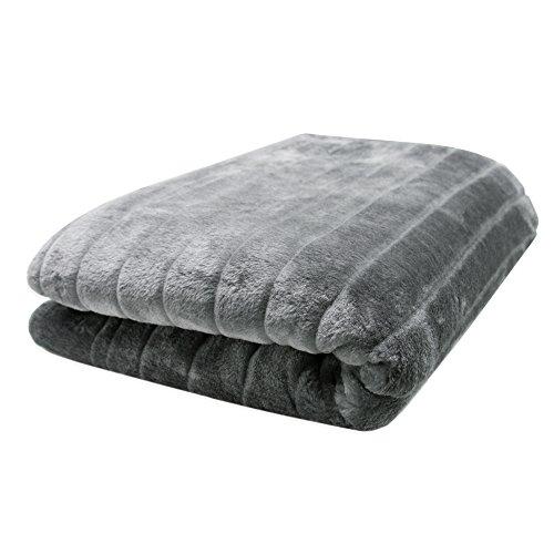 ZOLLNER Manta grande para sofá imitación piel de visón / manta cama piel sintética / cubrecamas, gris plateado, 150x200 cm, anverso imitación piel y reverso de forro polar, serie 'Kansas'