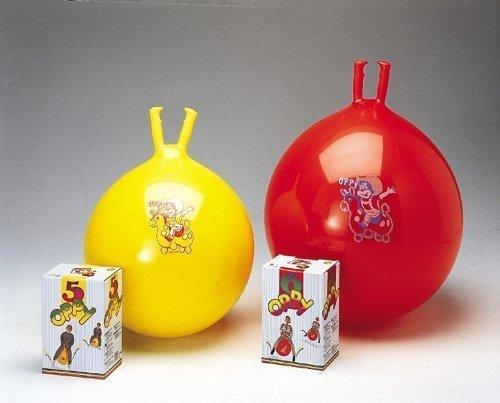 1x roter Hüpfball Oppy 6 von GYMNIC / Kinder-Hüpfball mit 2 Griffen / Größe: Ø 60 cm / max. Belastung: 150 kg / 7+