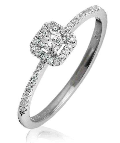 0.25ct Certificato G/VS2Round Brilliant Centro con forma Halo Diamante Anello con diamanti sulle spalle in Oro Bianco 18K, oro bianco, 56 (17.8), cod. FL-3375