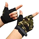 #6: DALUCI Winter Mens Antiskid Warm Knitted Cycling Gym Fitness Sports Half Finger Gloves