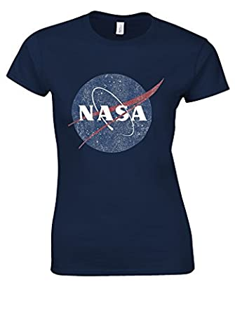 Nasa National Space Administration Logo Vintage Navy Women T Shirt Top-M