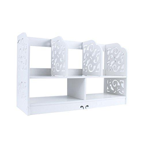 Yosoo DIY Estante de Libros, Estantería sobre Mesa para Libros, Librero Blanco de Madera (Modelo B-Grande: 35x21.5x60cm)
