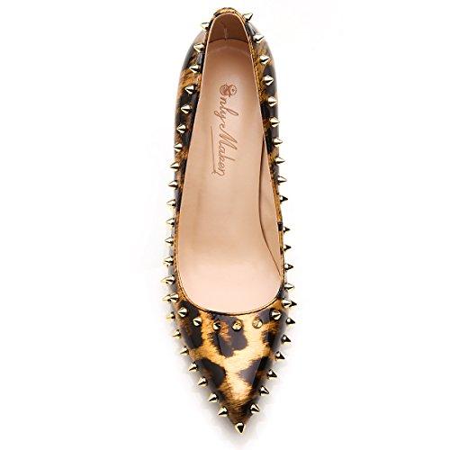 Onlymaker Chaussures Ornements A Talons A Bouts Pointus Femme léopard-10CM