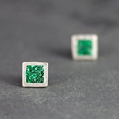 Boucles d'oreilles argent massif 925 malachite vert pointes géométrique carré