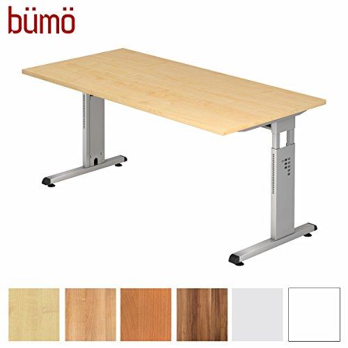 Ahorn Stahl Schreibtisch (BÜMÖ® Stabiler Schreibtisch höhenverstellbar 160 x 80 cm | Bürotisch in Ahorn | Büroschreibtisch mit Höheneinstellung | Tisch für Büro in 9 Größen & 7 Dekoren)