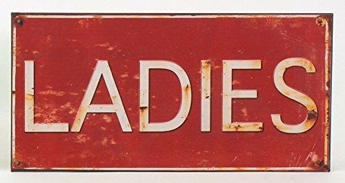 Wandschild Türschild 'LADIES' rot- braun cremefarbene Schrift auf alt getrimmt (Rot Getrimmt)