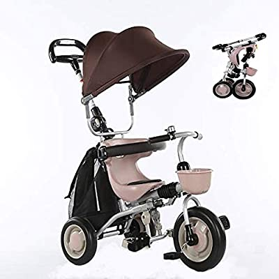 Baby Trike Foldable,4 in 1 Childrens Folding Tricycle Walker Bike for 6 Months to 5 Years Foldable 3 Wheel Push Weight 30 kg (Color : Khaki)