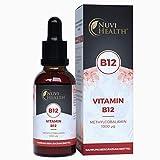 Vitamin B12 Methylcobalamin Tropfen - 1000 µg pro Tag - 1250 Tropfen = 50 ML - Vegan - Hochdosiert - Laborgeprüft - Frei von Konservierungsstoffen- Vitamin B Flüssig Liquid