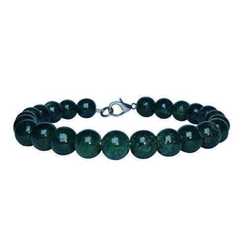 Satyamani Natural Green Jade Beads Bracelet with Hook
