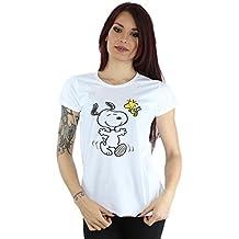 Peanuts Damen Big Snoopy And Woodstock T-Shirt Small Weiß