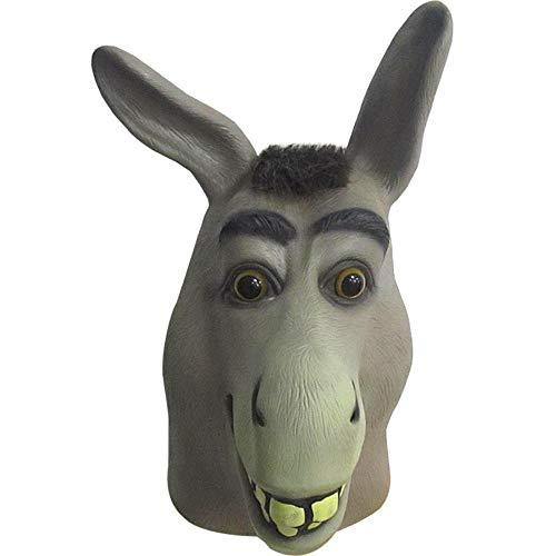Littlefairy Masken für Erwachsene,Lustige Esel Kopf Maske Cartoon süße Latex Kopfschmuck Halloween bar Leistung Requisiten