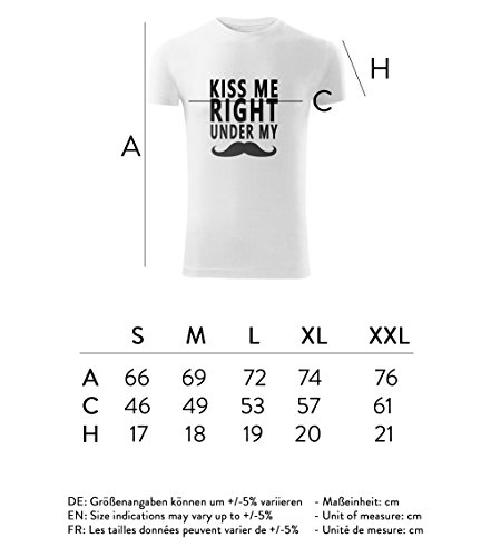 Herren Movember Shirt Kiss me right under my schwarz & weiß Motiv - T-Shirt Poloshirt mit Motiv - Neu S - XXL Weiß