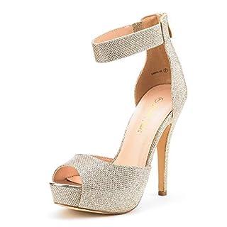 Dream Pairs Women's Swan-05 Gold Glitter Ankle Strap Back Zipper Peep Toe High Heel Platform Pump Shoes Size 8 UK/10 US
