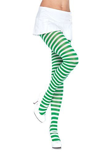 Sexy Spaß weiß grüne Streifen Strumpfhosen strumpfwaren Halloween Kostüm Schule Geek Nerd Hexe Weihnachtselfe St.Patrick's Day Weihnachten - weiß/Grün, One ()