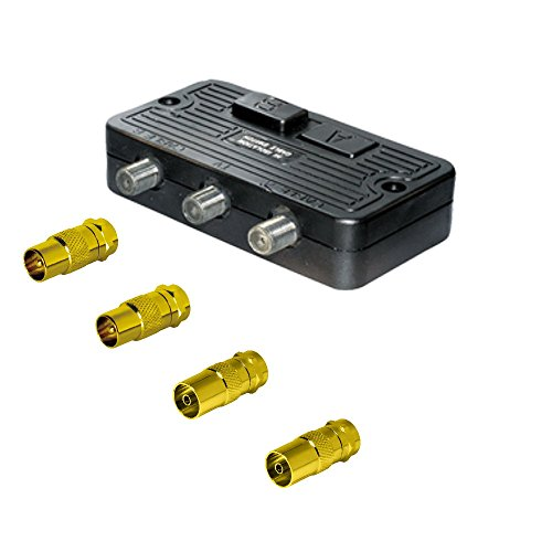 Sat-Fox Universal Umschalter-Verteiler mit 4 Koax-Adaptern; für SAT, Kabel TV, DVB T2 HD und UKW; Neue Version: HDTV, 4K, UltraHD, 3D Hd Koax Kabel