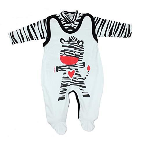 TupTam Baby Unisex Strampler-Set mit Aufdruck Spruch 2-TLG, Farbe: Zebra, Größe: 56
