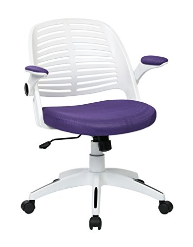 Ave.Six AVE SIX Tyler Ventilated Plastic Back and Padded Mesh Seat Office Chair, Purple Seat, White Frame and Back