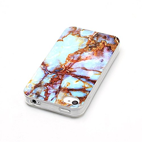 iPhone 4S Hülle Marmor, iPhone 4 Marble Case,iPhone 4S Weich Silikon Handyhülle,Lifetrut Marmor Design Soft Rückseite Stoßstange TPU Gummi Silikon Skin Tasche für iPhone 4S/4 [Rauch] E203-Blau