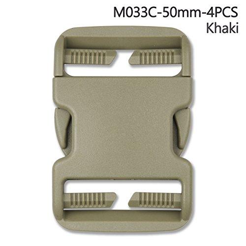 4Kunststoff Schnalle Repair Kit Quick Release Schnallen für Rucksack Bag, khaki, 50 mm (Release Quick Mit Stärke)