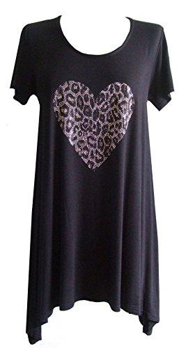 Schwarz (Leopard Heart Top) lang asymmetrisch T Shirt mit besetzt Herz. Gr.46/48