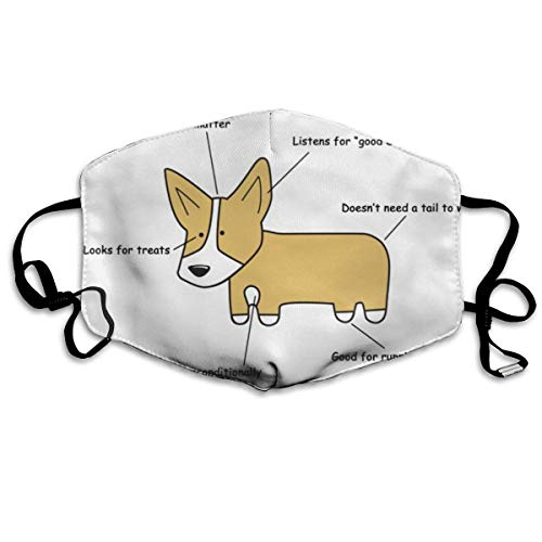 Daawqee Masques, Anatomy of A Corgi Anti Dust Face Mouth Cover Mask Respirator Cotton Protective Breath Healthy Safety Warm Windproof Mask