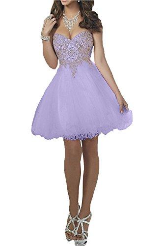 Victory Bridal Rosa Herzausschnitt Spitze Tuell Cocktailkleider Partykleider Promkleider A-linie Tanzenkleider Mini Lilac