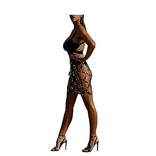 Tesnew Donne regolabile scava fuori sexy in pelle imbracatura ha tessuto gonne corpo di modo Nero