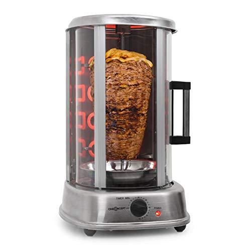 Oneconcept kebap master pro - griglia per döner, griglia per pollo, griglia per gyros, griglia rotante con spiedo girevole, max. potenza: 1500 watt, distribuzione di calore a 360 °, argento