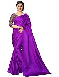 fc3227a1e4 Saptarangi Women s sanasilk plain Saree with jacquard Blouse (Purple)