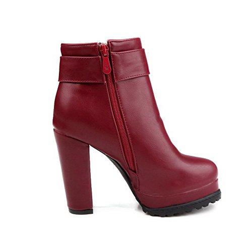 VogueZone009 Donna Piattaforma Bassa Altezza Puro Stivali con Metallo Rosso