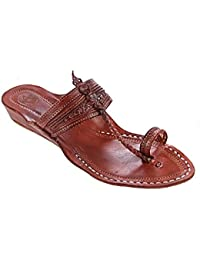Lovely Red Brown Fine Braids And Punching Platform Heel Ladies Kolhapuri Chappal KRKA-W-435