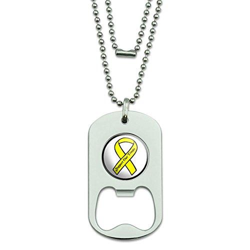 Unterstützen Unsere Truppen Band–Gelb auf Weiß Dog Tag Flaschenöffner (Truppen Dog Tag)