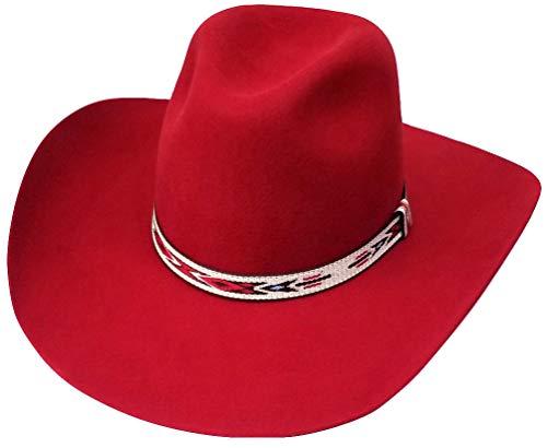 Modestone Traditional Genuine Wool Felt Cowboy-Hut 2X Red -