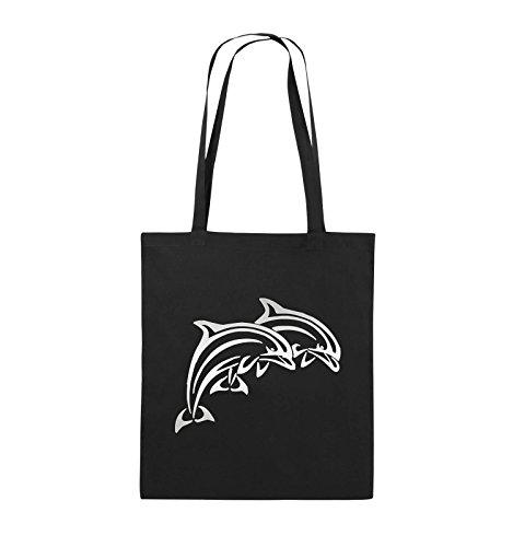 Comedy Bags - DELPHINE - Jutebeutel - lange Henkel - 38x42cm - Farbe: Schwarz / Silber Schwarz / Silber