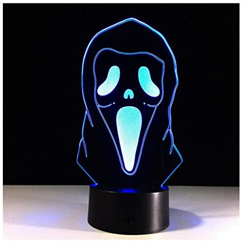 Halloween Maske 3D Illusion Lampe Bunte Gradienten Atmosphäre Lampe Kinderzimmer Dekoration Beleuchtung 3D Led Nachtlicht-Touch