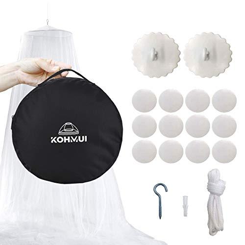 Kohmui Moskitonetz, Mückennetz Travel mit Klebehaken für Reise und Zuhause, Extra-groß Betthimmel Mückenschutz für Doppelbett Einzelbett