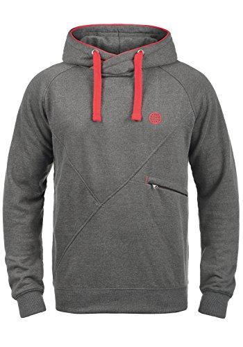 Blend Cross Herren Kapuzenpullover Hoodie Pullover Mit Kapuze Cross-Over-Kragen Und Fleece-Innenseite, Größe:L, Farbe:Mid Grey (75147) -