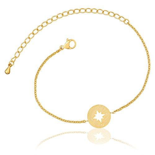 Selia Kompass Armband Windrose Armreif Navi minimalistische Optik brushed gebürstete Optik handgemacht (Gold)