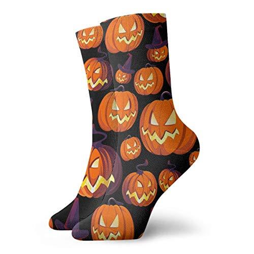 Alysai zucche di halloween su nero pittura artistica stampata divertente novità novità calze da uomo in cotone casual da 11,8 pollici
