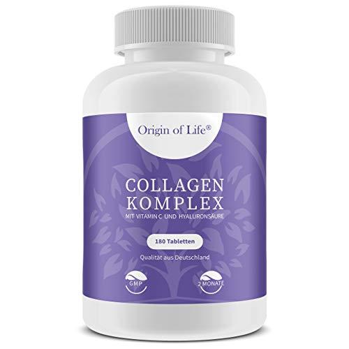 COLLAGEN KOMPLEX - 180 Tabletten - Hochdosiert mit 1343mg Collagen Hydrolysat + Hyaluronsäure + Vitamin C je Tagesportion - Aus Deutschland ohne unerwünschte Zusatzstoffe