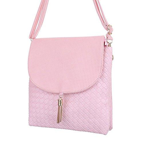 Damen Tasche, Kleine Perforierte Umhängetasche, Kunstleder, TA-C248 Rosa