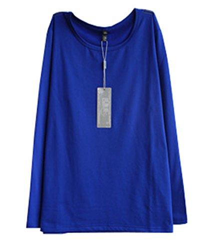 JOTHIN 2017 Donna Autunno Velluto Tinta Unita T-shirt Collo Alto Manica Lunga Larghi Magliette Casual Fasciante Elegante Pullover Tops. Blu