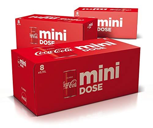 Coca-Cola Classic, Pure Erfrischung mit unverwechselbarem Coke Geschmack in der stylischen 150ml Mini Dose, EINWEG Dose (3 x 8 x 150 ml)