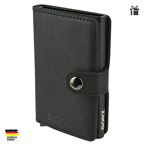 BORZ Prime - Mini Wallet   Kartenetui mit RFID Schutz   Extrem leicht & kompakt   Premium Herren Geldbörse mit Kartenhalter   Geldbeutel für Karten & Scheine aus Echtleder