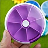 DOMIRE 1pc 7-Day Round Tray Pill Box Cases Container Storage Dispenser Medicine Vitamins Heath Care,purple