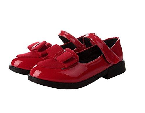 Brinny Baby Mädchen Prinzessin Schuhe Bowknot Kind Lackleder Tanzschuhe Ballerina Mary Jane Halbschuhe Klettband Rot