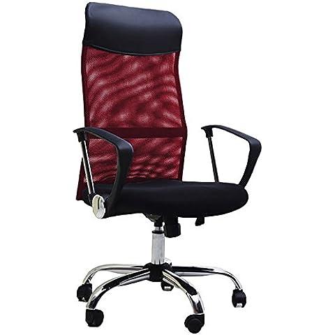BTM–Sedia direzionale con schienale alto Multicolor regolabile sedia da ufficio, girevole, reclinabile, seduta in rete (vino) Wine